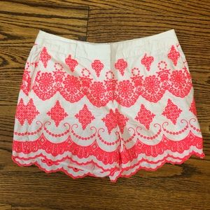 Boden white shorts pink embroidery US 4 UK 8